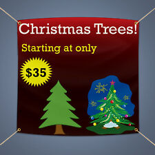 Christmas Trees Sale Vinyl Banner 5' X 3' Retail Shop Advertising Business Sign