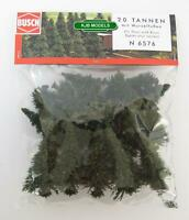BNIB BUSCH 6576 N GAUGE 20 PINE TREES WITH ROOTS / BASES (30mm - 60mm High)