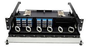 96 Fiber 2RU Rack Mount FDP Patch Only w/ 24 LC/UPC Quad Adapters Singlemode