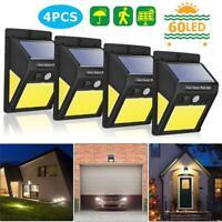 4pcs 60 LED Cob Luces Solares IP65 Impermeable Motion Sensor Jardín Exterior Luz