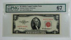 1953 A - Red Seal $2 Legal Tender Note Fr# 1510 - Superb Gem Unc 67