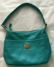 TOMMY HILFIGER Women's Turquoise Aqua Pebbled Leather Handbag - Lined