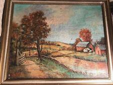 """Huge Antique Jafoel """"Farm Landscape Scene"""" Oil Painting - Signed And Framed"""