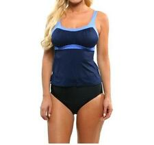 NEW Miraclesuit 2 PIECE TANKINI SWIMSUIT 14 44 BLACK BLUE BANDED