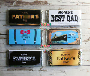 12 x Father's Day Chocolate Bar Wrappers - Printed Bar Wraps only - Pre-custom