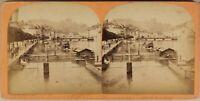 Suisse Lucerna E Il Gutch c1870 Foto Stereo Vintage Albumina
