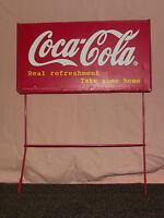 VINTAGE COKE SODA 1998 COCA COLA CO  REAL REFRESHMENT METAL ADVERTISING SIGN