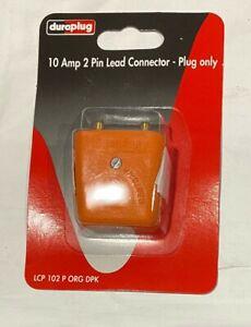 New DURAPLUG Orange 10 Amp 2 Pin Lead Connector - PLUG ONLY