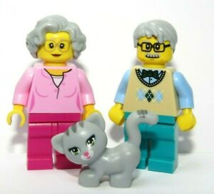 LEGO 2 Minifigure Grandma Grandad Old Man Lady Mam Dad & Grey Cat Kitten Pet