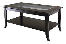 Rectangular Glass Top Coffee Table Storage/Mirrored /Wood/Modern/Living Room