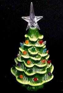"""Mini Ceramic Lighted Christmas Tree Night Light Vintage Tabletop Tree 7.5"""""""