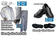 Chef Complete Uniform Set- Jacket+Pants+Apron+Cap+Tie+Leather Shoe- All for $140