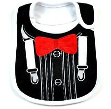Baby Boy Cotton Bib Tuxedo Formal Like Bow Tie Feeding Dressy Gift