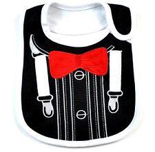 Baby Boy Cotton Burp Bib Tuxedo Style Black and White Dressy Gift