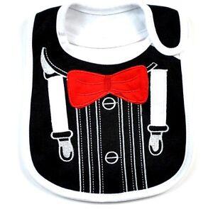 Baby Boy Cotton Waterproof Bib Tuxedo Bow Tie Feeding (Free Baby Socks) Gift