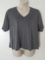 Anne Klein Women's Black White Geometric Print Short Sleeve Blouse Plus Size 3X
