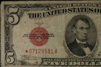 1928D Red Seal Star Note Five Dollar Bill, Historic Item.