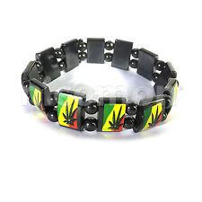 Weed Of Wisdom Ganja Hemitate Rasta Bracelet Wrist Band Reggae Marley RGY