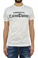 Dsquared2 T-Shirt Blanc Homme Imprimé en Caoutchouc Mod.S71GD0471S22427100