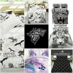 3d Effect Animal Print Duvet Cover & Pillowcases Bedding Set Single Double