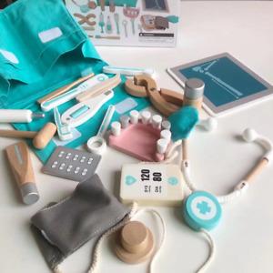 Kinder Arztkoffer mit Zubehör aus Holz Doktorkoffer Doktorset Spielzeug Blau DHL