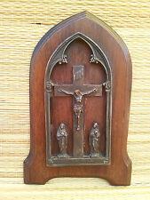 Ancienne icone religieuse en bois et métal Jesus  art pop french antique