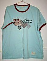 Levi Strauss 73 Men's Light Blue Print Cotton Short Sleeve T-shirt Tee Size XXL