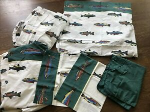 Vintage Joe Boxer Complete Twin Sheet Set Salmon Trout Fishing Cabin Bedding