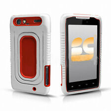 For Motorola DROID RAZR Rubber IMPACT Duo Shield Hard Case Phone Cover White Red
