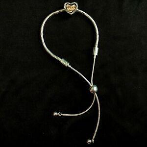 Message of Love Heart Charm Silver Bracelet