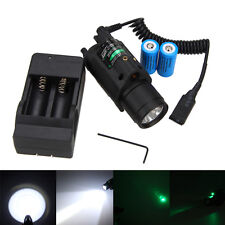 Tactical Green/Red Laser Sight LED Flashlight Combo+Picatinny Rail Mount Battery