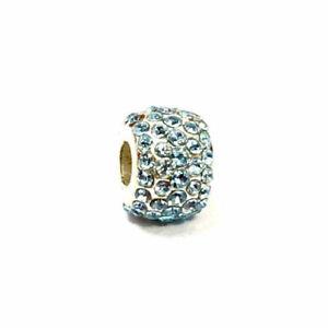 Brighton Mini Ice Diva Bead, Aqua Crystals, Silver Finish, J9391B, New