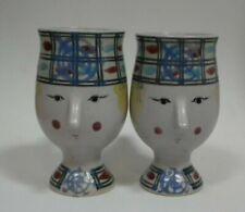 Pair Set 2 Bjorn Wiinblad Inspired Fitz & Floyd Art Pottery FACE HEAD Mugs Cups