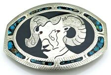 Ram Johnson Held Hand Crafted Turquoise Vintage Belt Buckle