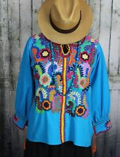 Turquoise & Multi-Color Hand Embroidery Blouse Chiapas Mexico Boho Hippie Fiesta