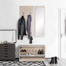 Garderobe Flurgarderobe Paneel Wandgarderobe Spiegel Komplett Set Kompakt Sonoma
