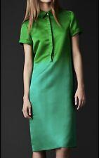 Burberry Prorsum Silk Green Shirt Dress IT 44 UK 12