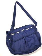 """Lesportsac Deluxe Everyday Crossbody Purse Solid Navy Blue Bag 14"""" x 12"""""""