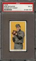 Rare 1909-11 T206 Bob Rhoades Hands at Chest Piedmont 350 Cleveland PSA 5 EX