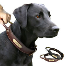 Personalized Leather Dog Collar Engraved ID Nameplate Custom Adjustable Labrador
