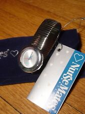 Nurse Mates Watch Unisex Chrome Plated Expandables Band Easy Read Second Hand
