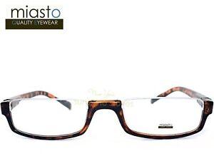 MIASTO TOP RIMLESS RECTANGLE HALF READER READING GLASSES+2.75 BROWN LARGE~ FLEX