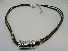 Silpada .925 Sterling Silver Necklace 3-strand Green Leather Pendant N1481