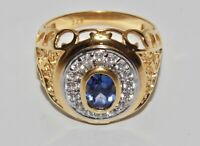 9CT YELLOW GOLD ON SILVER BLUE SAPPHIRE & ZIRCON CHUNKY MEN'S RING - SIZE Y