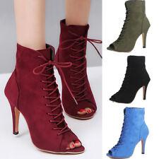 Women Fashion Lace Up Short Boots High Heels Stiletto Peep Open Toe Sandal Shoes