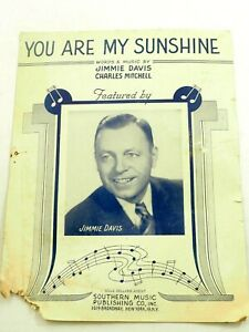 You Are My Sunshine Jimmie Davies Guitar/Piano/Vocal Sheet Music 1940
