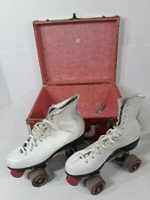 Vintage Roller Derby Women's Roller Skates White With Red And White Travel Case