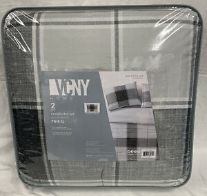 VCNY Home Brent Plaid 2 Piece Twin XL Comforter Set Gray Black & White Plaid