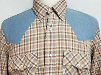 Levis Mens sz XL Brown Blue Vintage 60's Long Sleeve Western Pearl Snap Shirt