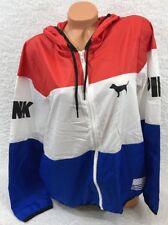 Victoria Secret PINK~USA Patriotic Anorak Windbreaker zip up Jacket~Size M/L